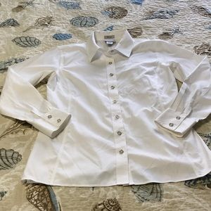 Chico's White Fitted Blouse Cotton Non-Iron Size 1